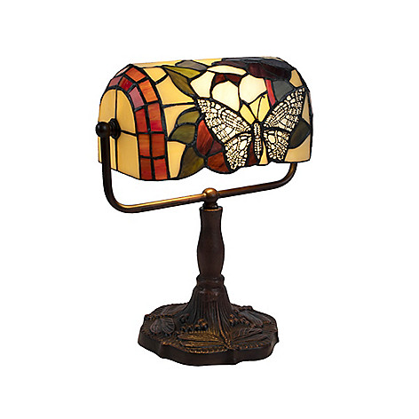 484 987 Lavish Home Tiffany Style Stained Gl Erfly Designed Banker S Desk Lamp