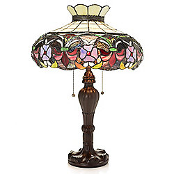 "Tiffany-Style Western Wallflower 23.5"" Stained Glass Table Lamp"