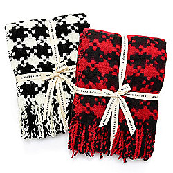 485-975 MacKenzie-Childs Set of 2 51 x 67 Woven Houndstooth Fringed Throws - 485-975