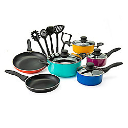 "Vremi ""The Sizzla"" 15-Piece Color Pop Aluminum Nonstick Cookware & Utensil Set"