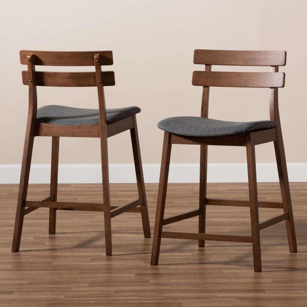 Outstanding Baxton Studio Larine Set Of 2 35 25 Dark Grey Upholstered Wood Counter Stools Andrewgaddart Wooden Chair Designs For Living Room Andrewgaddartcom