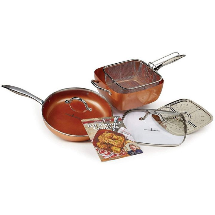Copper Chef Making Mealtime Easier - 487-360 Copper Chef 7-Piece Nonstick 12 Fry Pan & 11 Casserole Pan Set