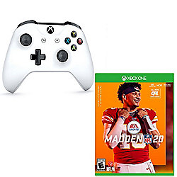 Microsoft Xbox One Wireless Controller in White w/ Madden NFL 20