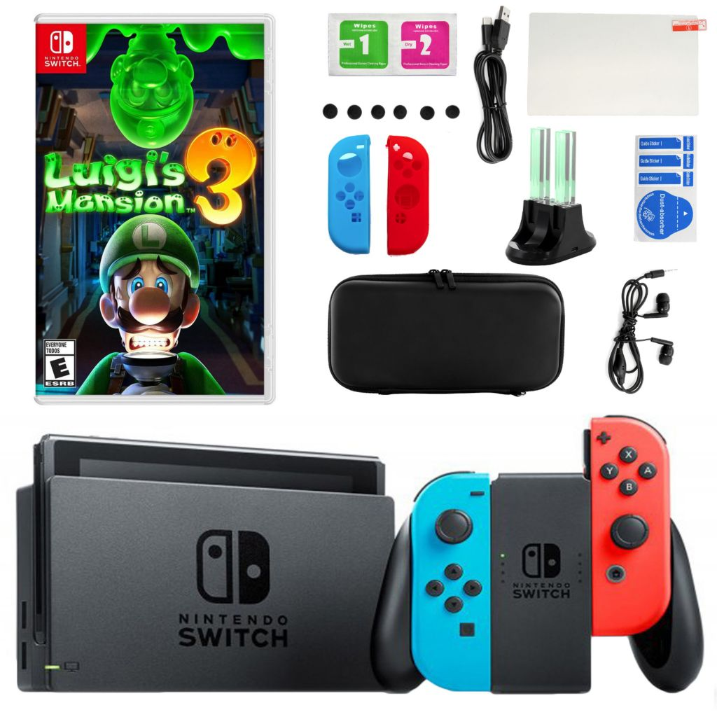 Nintendo Switch Console W Luigi S Mansion Accessories Kit