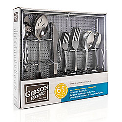 Gibson South Bay 65-Piece Stainless Steel Flatware Service Set w/ Wire Caddy