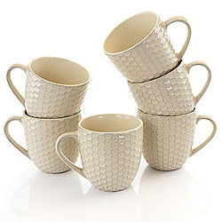 Elama Honeycomb Set of 6 (15 oz) Round Cream Stoneware Mugs