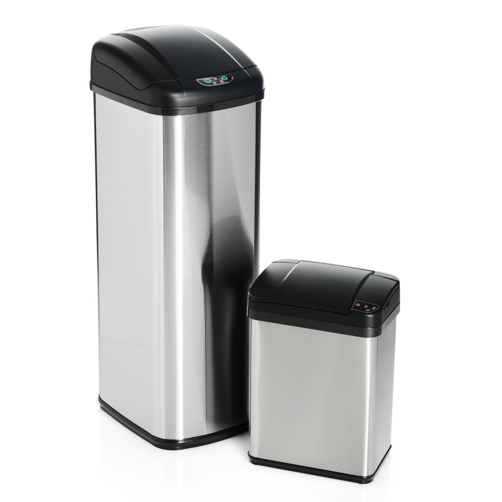 Honey-Can-Do, 12L & 52L Combo, Square Touch, Stainless Steel, Trash Can Set