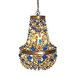 Bluetopia 488-588 MacKenzie-Childs 14 Handmade Brass & Glass Bluetopia Chandelier - 488-588