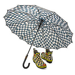MacKenzie-Childs Courtly Check Chelsea Ankle Rain Boots w/ Umbrella