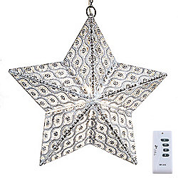 "Style at Home with Margie 18"" Indoor/Outdoor Wireless LED Iron Star Lantern"