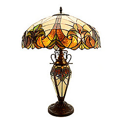 "Tiffany-Style 24"" Double Lit Stained Glass Table Lamp"
