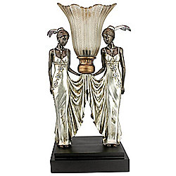 "Design Toscano 20"" Art Deco Peacock Maidens Illuminated Statue"