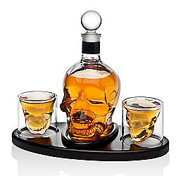 Godinger 25 oz Crystal Skull Decanter & 2 (3 oz) Shot Glasses Set