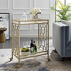 Furniture 491-140 Inspired Home Cedar 35 Cast Iron Bar Cart - 491-140