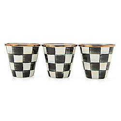 MacKenzie-Childs Set of 3 (8 oz) Courtly Check Enamel Herb Pots