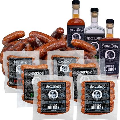 Premiere of Booze Dogs Alcohol Infused Burgers, Brats & Hot Dogs -  491-732 Booze Dogs 3 lb or 6 lb Choice of Liquor Infused Bratwurst