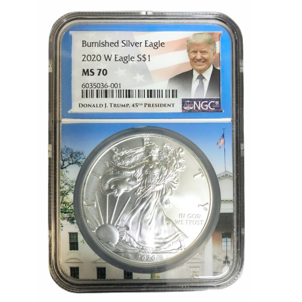 White House Core Trump Label 2020 W Burnished Silver Eagle NGC MS70