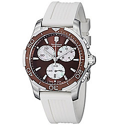 Victorinox Swiss Army Men's 36mm Classic Chronograph Brown Dial White Rubber Strap Watch