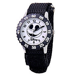 Disney® Jack Skellington Kids' Japanese Quartz Time Teacher Nylon & Velcro Strap Watch
