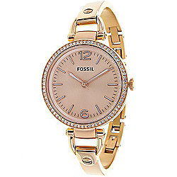 Gifts For Mom - 623-441 Fossil Women's Georgia Quartz Rose-tone Stainless Steel Bracelet Watch - 623-441