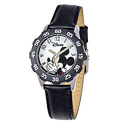 Disney® Mickey Mouse Stainless Kids' Steel Black Bezel Black Leather Strap Watch