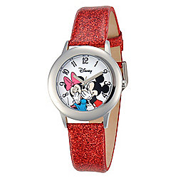 Disney® Mickey Mouse & Minnie Mouse Kids' Stainless Steel Red Glitter Leather Strap Watch