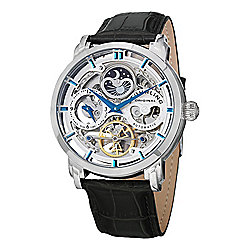 Skeletonized Dials - 629-584 Stührling Original Men's 47mm Special Reserve Automatic Leather Strap Watch - 629-584