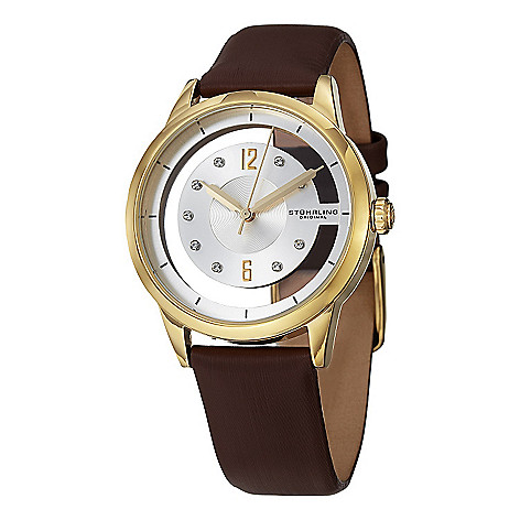 d30c75ede 630-112- Stührling Original Women's Quartz Crystal Accented Satin Strap  Watch