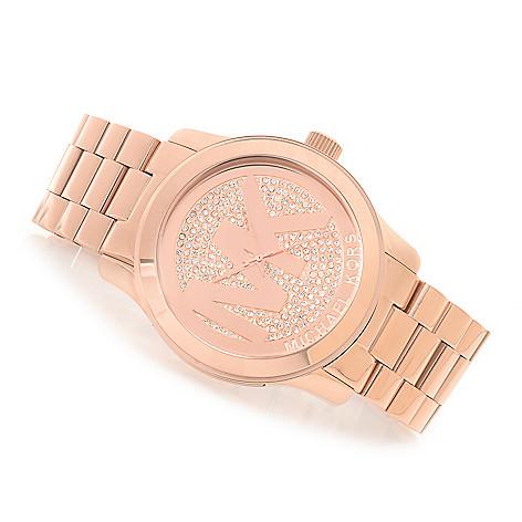 15934de8d0b9 Michael Kors Women s Runway MK Logo Crystal Accented Bracelet Watch - EVINE