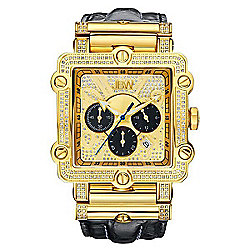 633-213 JBW Men's 46mm Phantom Quartz Chronograph Diamond Accented Leather Strap Watch - 633-213