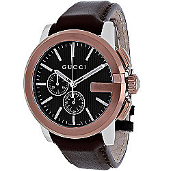 Gucci Men's 44mm G-Chrono Swiss Quartz Rose-tone Leather Strap Watch