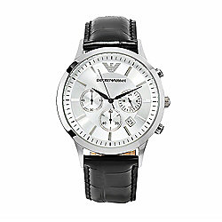 Emporio Armani Men's 43mm Classic Quartz Stainless Steel Leather Strap Watch