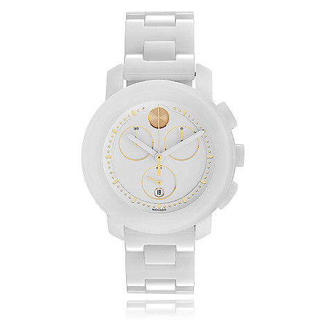 13cf0b9d5 Movado Women's Bold Swiss Quartz Chronograph White Ceramic Bracelet Watch -  EVINE