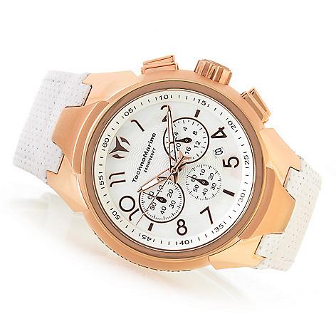 e4efbb7de5f TechnoMarine Men s 48mm Sea Dream Quartz Chronograph Mother-of-Pearl  Leather Strap Watch - EVINE