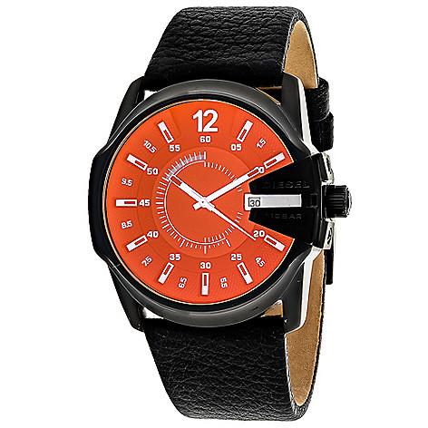 c343dbc7a 641-021- Diesel 56mm Mega Chief Quartz Leather Strap Watch