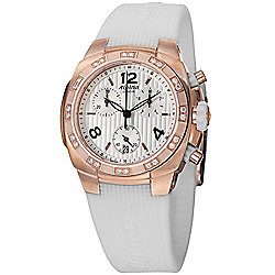 Alpina Women's Avalanche Swiss Made Quartz Chronograph Diamond Accented White Rubber Strap Watch