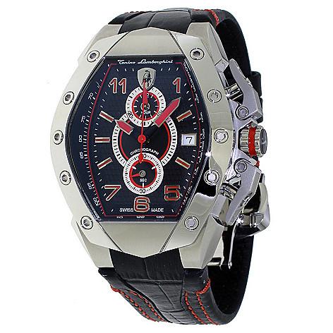 Tonino Lamborghini Watch >> Tonino Lamborghini Men S 48mm Gt3 Swiss Made Quartz Chronograph Leather Strap Watch