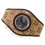 3f4bdd62c Image of product 642-815. Gucci Women's U-Play Swiss Made Quartz Sapphire  Crystal Canvas & Leather Strap Watch