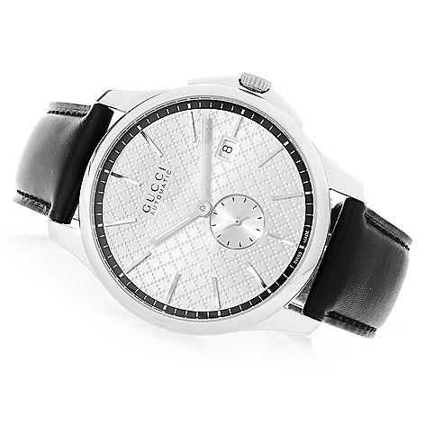 bab664f7a4f Gucci Men s 40mm G-Timeless Swiss Made Automatic Leather Strap Watch - EVINE