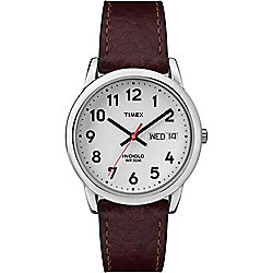 d21be3544 Timex 35mm Easy Reader Quartz Indiglo Dial Date Leather Strap Watch