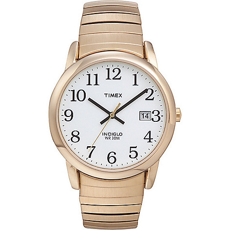 07ef82067 645-166- Timex Men's 35mm Easy Reader Quartz Indiglo Dial Date Stainless  Steel Expansion