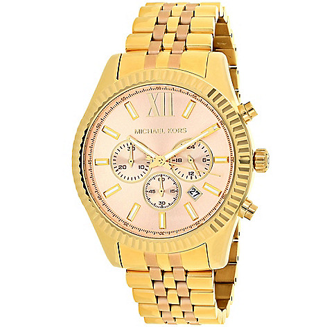 74c8dca060f4fa 646-035- Michael Kors Women's Lexington Quartz Chronograph Stainless Steel  Bracelet Watch