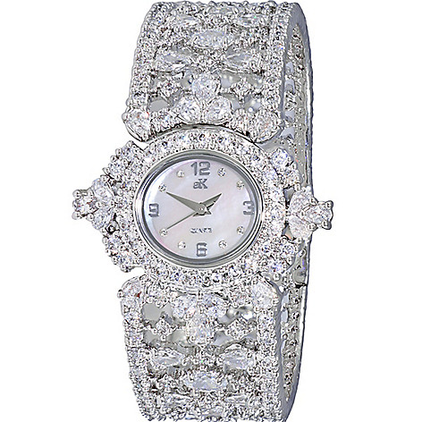 fc2620aef40 646-152- Adee Kaye Women's Quartz Austrian Crystal Accented Mother-of-Pearl