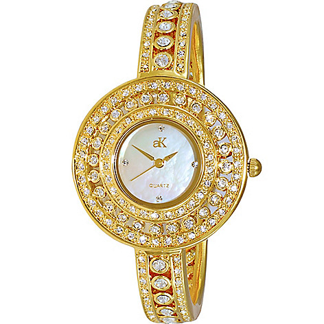 2438fccd2ab 646-318- Adee Kaye Women's Quartz Austrian Crystal Accented Mother-of-Pearl