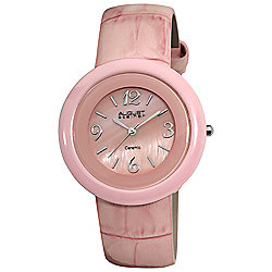 August Steiner Women's Quartz Mother-of-Pearl Dial Ceramic Case Leather Strap Watch