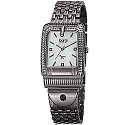 Burgi Women's Buckle Quartz Diamond Accented Mother-of-Pearl Dial Bracelet Watch