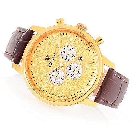 7ca33f389 647-581- Croton Men's 44mm Chronomaster Quartz Chronograph 24K Gold Foil  Accented Strap Watch