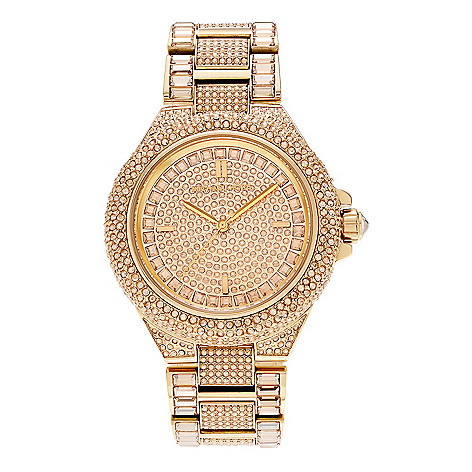 effebc7e0eaa Michael Kors Women s Camille Quartz Crystal Accented Rose-tone Stainless  Steel Bracelet Watch