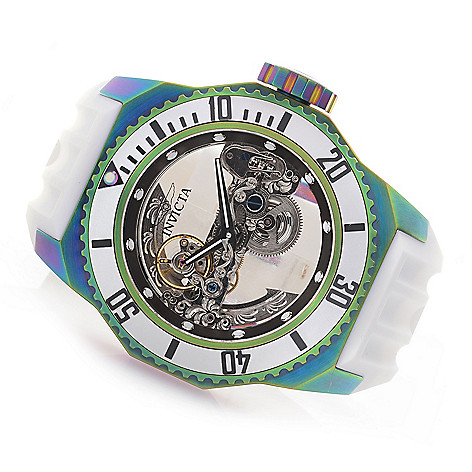 4b677b55b 648-739- Invicta Men's 52mm Russian Diver Ghost Automatic Skeletonized Dial  Iridescent Silicone Strap