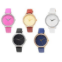 Top Selling Women's - Under $100 - Croton Set of 5 Women's Manhattan Quartz Crystal Accented Leather Strap Watches - 649-234